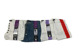 NWT Kenneth Cole Ladies Button Fly High Rise Straight Leg Stretch Jeans 1386056