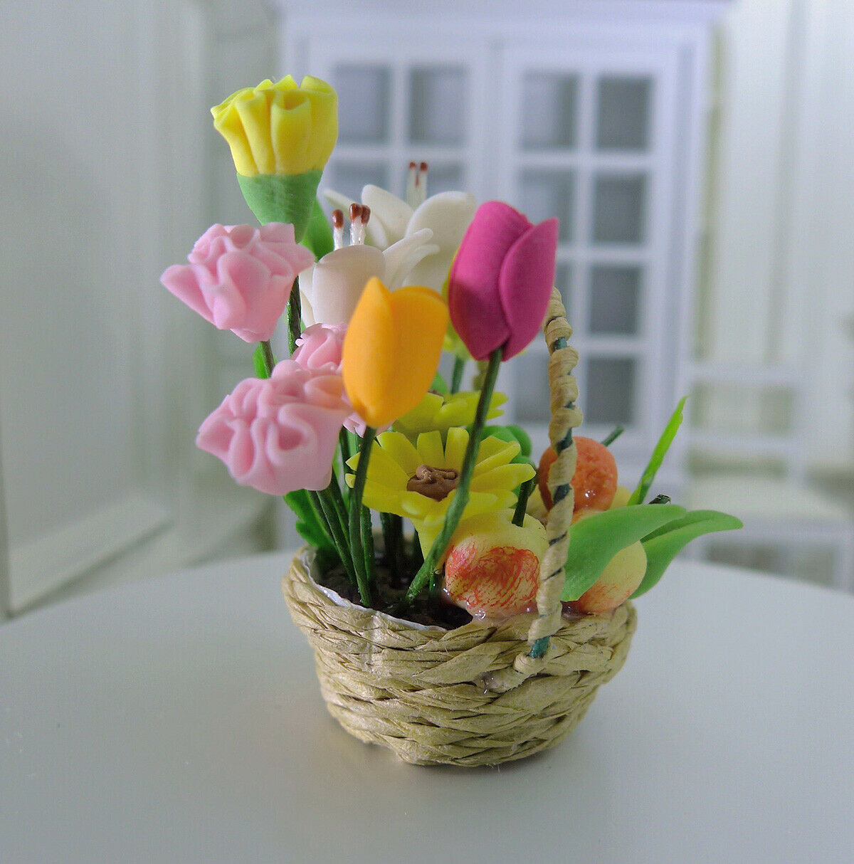 Dollhouse Miniature Asiatic Lilies x3 Lily Flower Stem Leaves 1:12 Scale Garden