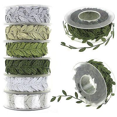 1M Snowflake Craft Satin Leaf Leaves Vine Garlands Ribbon Sew On Lace Trim Decor