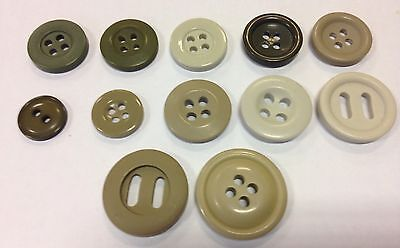 Beige Brown Buttons x8 pack Khaki Army tan 15mm-22mm dia toppers crafts