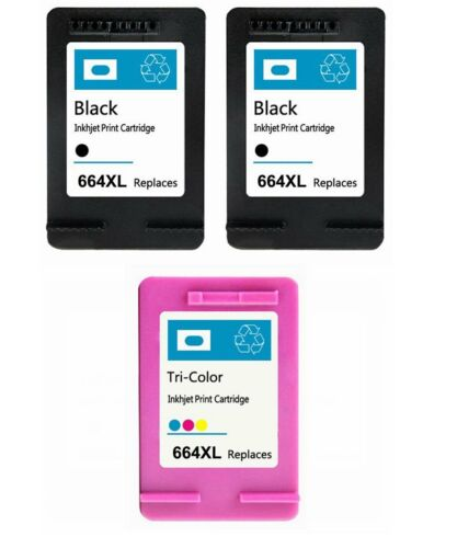 3PK Compatible for HP 664XL Black Color Ink Cartridge Show Ink Deskjet 2136 4676