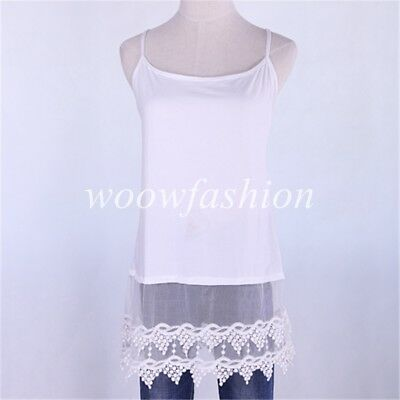 Women Lace Trim Cami Tops Sleeveless Lace Shirt Extender Ladies Long Tank Top