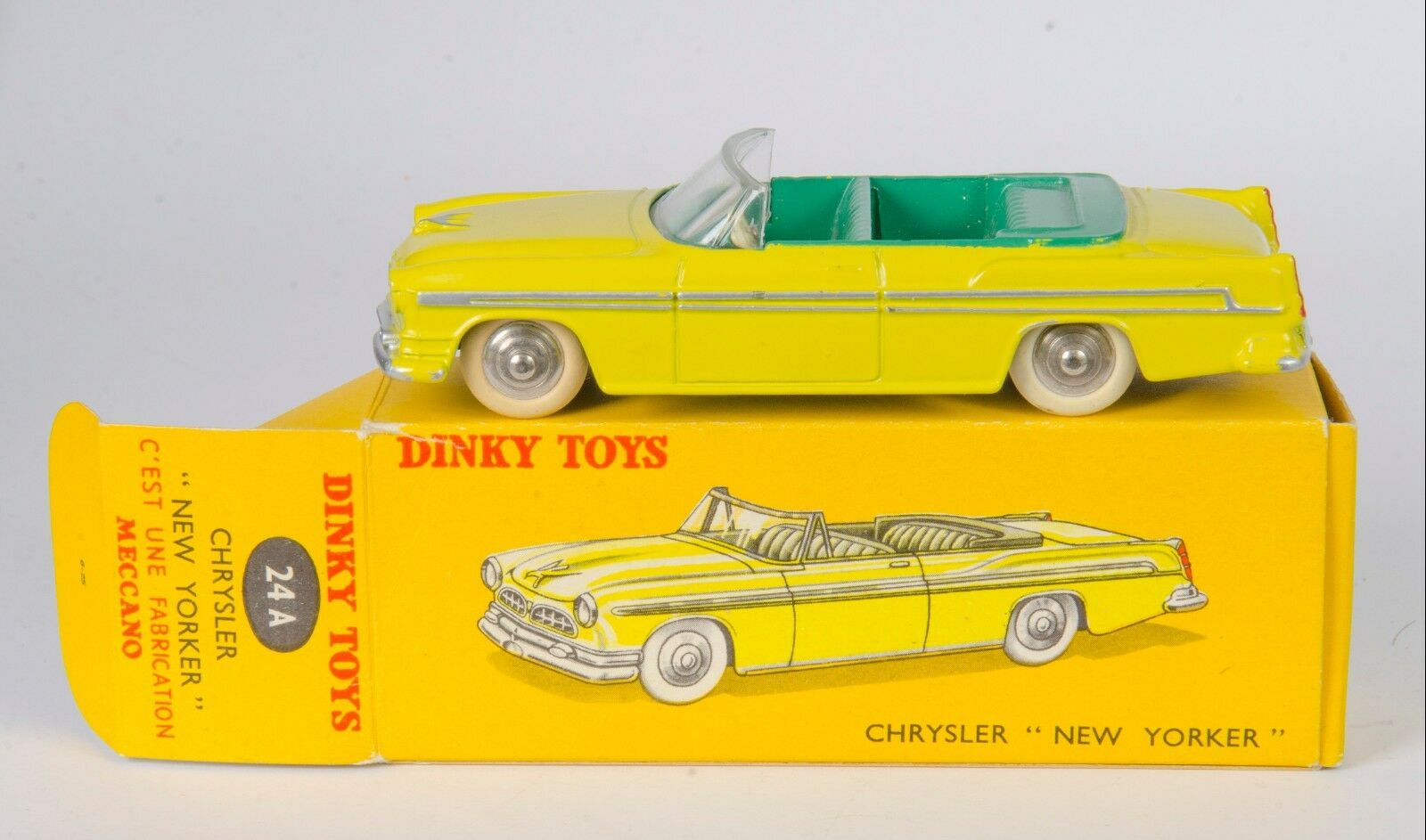 FRENCH Dinky 24A Chrysler 'New Yorker'. Lemon. Very Near-MINT Boxed. 1950's