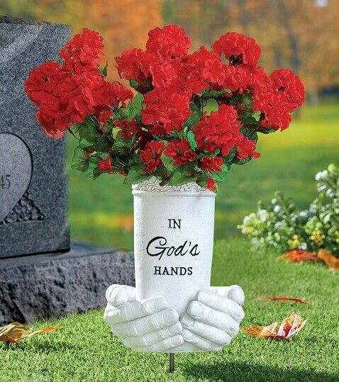 eBay & Memorial Praying Hands Flower Vase Stake Outdoor Garden Statue Grave Cemetery