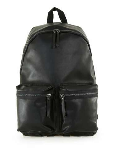NEW TOPMAN BLACK BACKPACK BAG PU FAUX LEATHER LOOK SCHOOL COLLEGE CASUAL UK
