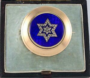 Antique-Victorian-15Ct-Gold-Guilloche-Enamel-Diamond-Star-of-David-Brooch