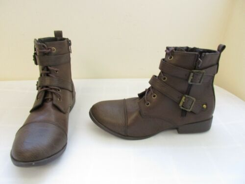 New Women/'s Union Bay Desire Combat Ankle Lace Up Zip Boots Med Width Brown 6R