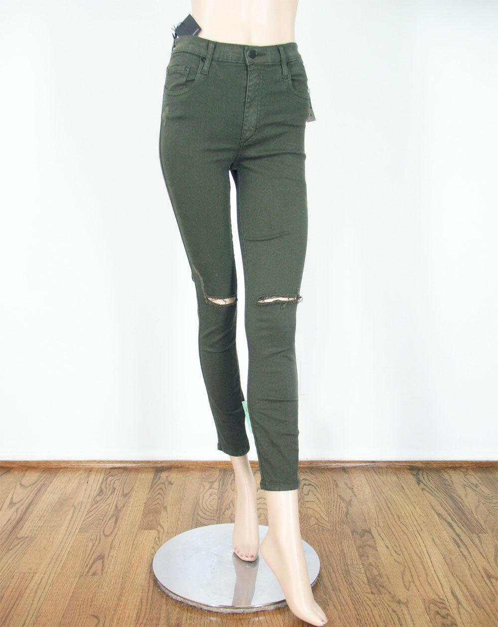 Nobody Cult Destructed Skinny Ankle Jeans Refuge Dark Green 24  229 9249 BM12