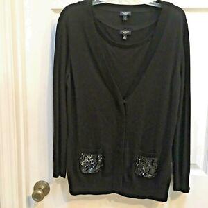 Talbots-2-pc-Sweater-SET-size-MEDIUM-Black-Cardigan-Embellished-Beads-Sequins