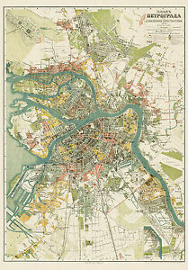 Saint Petersburg Russia Petrograd City Map 1917 Suvorin Vintage
