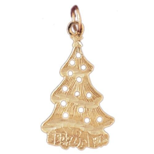 NEW 14k YELLOW gold CHRISTMAS XMAS TREE CHARM PENDANT JEWELRY