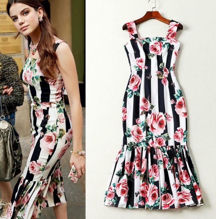 Occident style runway pink Butterfly striped printing fish tail Camisole Dress