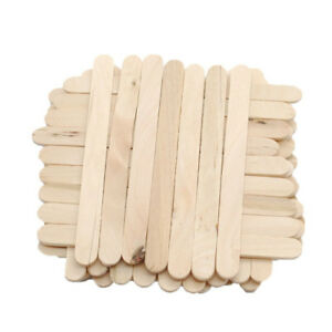 Image Is Loading 50Pcs DIY HandiCraft Natural Wooden Popsicle Sticks Ice