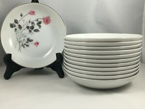 Set-of-12-Arita-China-Japan-Pink-Rose-Flower-5-3-4-034-Berry-Fruit-Sauce-Bowls