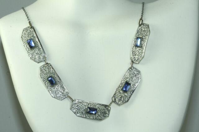 ANTIQUE ART DECO 15.5 INCH BLUE MIRROR GLASS FILIGREE NECKLACE