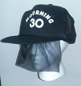 Image Is Loading Black Mourning 30 Snapback Trucker Hat Attached Funeral