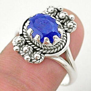 2.98cts Solitaire Natural Blue Sapphire 925 Sterling Silver Ring Size 8 T40637