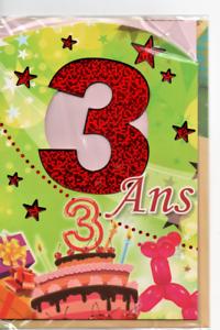 Carte Voeux Joyeux Anniversaire 3 Ans Gateau Et Ballons 17 X 11 5 Cm Ebay