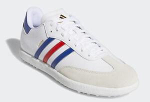adidas SAMBA Men's Golf Shoes White Blue 3 Stripes Adiwear NWT ...