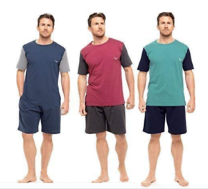 Mens-Pyjama-Set-Short-Sleeve-Top-Pants-Summer-Pjs-cotton-mix-PYJAMAS