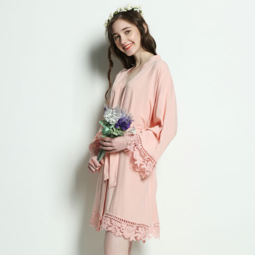 Rayon Cotton Bridesmaid Lace Robes With Trim Women Wedding Bridal Robe Short