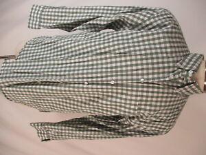 Orvis-Mens-Green-Check-Long-Sleeve-Cotton-Shirt-L
