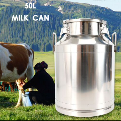 50Liter 13.25 Gallon Stainless Steel Milk Can Wine Pail Bucket Tote Jug USA