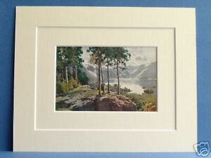 DERWENTWATER-FROM-CASTLE-HEAD-CUMBRIA-VINTAGE-DOUBLE-MOUNTED-PRINT-HEATON-COOPER