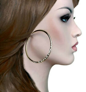 """Ky & Co Yellow Gold Tone Hoop Earrings Hammered 2 3/4"""" USA Large"""