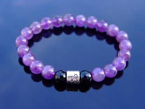 Capricorn Amethyst Onyx Birthstone Bracelet 6-9'' Elasticated Healing Stone