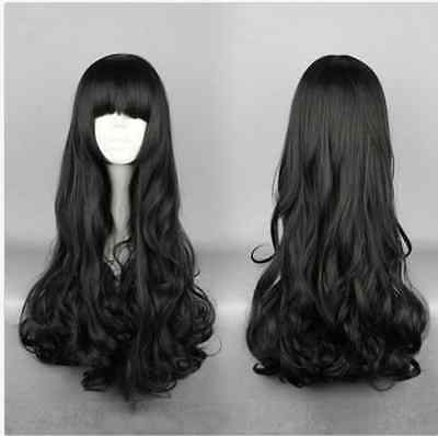 Cosplay Party Long Natural Wave Hair Anime Wigs Full Black Hair Wig Fashion Wig