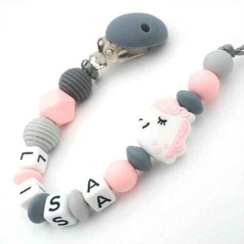 Schnullerkette mit Namen Mädchen ★ Silikon Einhorn Unicorn grau rosa Baby