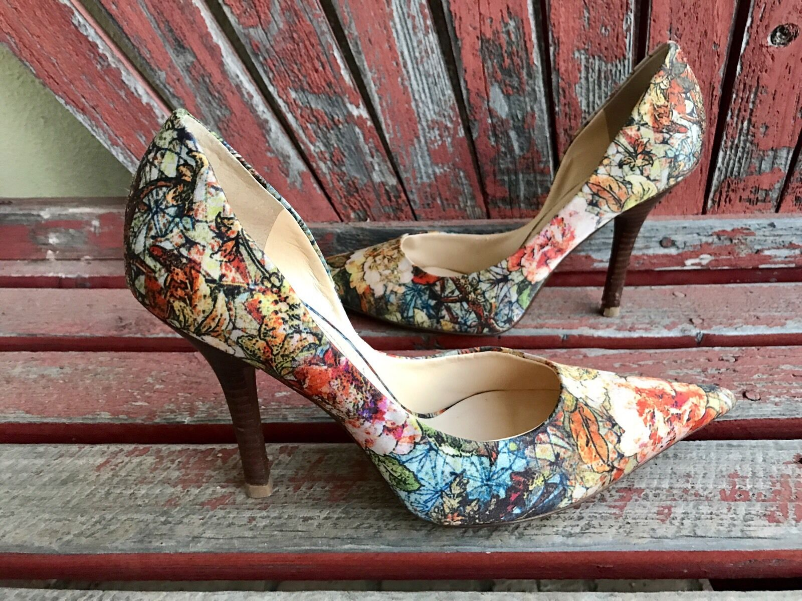 FaLL FloRaL Sz 10 GUESS Pointy Toe CARRIE Stilettos High Heels PUMPs Fabric