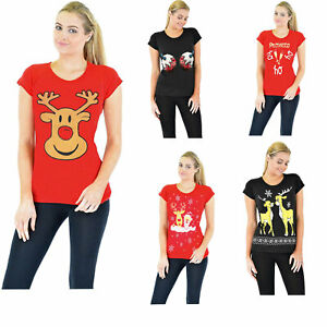 Womens-Xmax-Novelty-Christmas-Santa-Rudolph-Snowman-Reindeer-T-Shirts-Pack-Of-3
