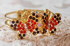 2 Butterflies Cuff Bangle Bracelet / Gold-tone / Red & Purple Crystals