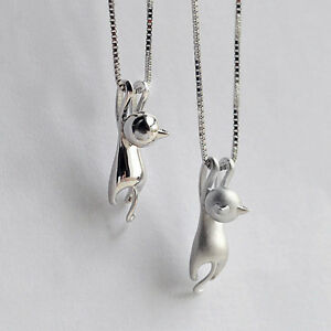 925 silver cat necklace free gift bagbox uk sterling jewellery all image is loading 925 silver cat necklace free gift bag box aloadofball Gallery