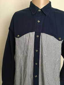 WRANGLER-CHAMBRAY-STRIPED-L-S-WESTERN-SHIRT-Navy-Sleeves-Yoke-Large
