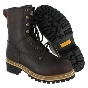 Men's Rugged Blue Pioneer Logger Boot - Steel Toe - Work Boots | eBay