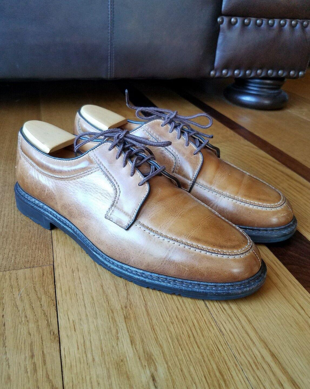 ALLEN EDMONDS Wilbert Split Toe Shoe Oxford Golden Brown Leather Shoe Toe Wide Sz 10.5 E 2f0640