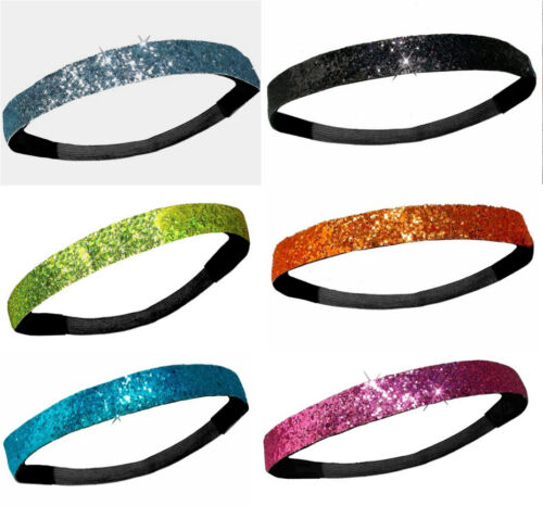 Glitter Headbands Softball Soccer Elastic Back Girls Ladies Sports Hairband