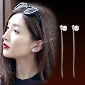 Ladies 925 Sterling Silver Black Agate Threader Dangle Earrings Christmas Gifts