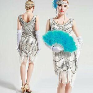 Details About Vintage White Unique 1920s Fler Dress Roaring 20s Great Gatsby Fringed