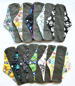 3-LONG-Panty-Liners-CHARCOAL-Bamboo-Reusable-Cloth-Mama-Menstrual-Pads-10in