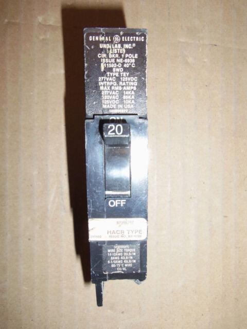 LOT OF 6 TEY120 GE 20 amp 277 volt 1 pole bolt on breaker