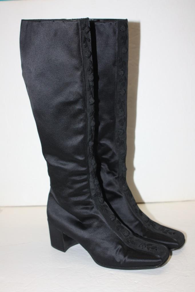 Authentic PRADA Women's Slim Knee High Black Satin Boots 38 / 8 US
