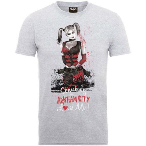 Mens T-shirt Grey X Large DC Comics Batman Arkham Asylum City Harley Quinn Image