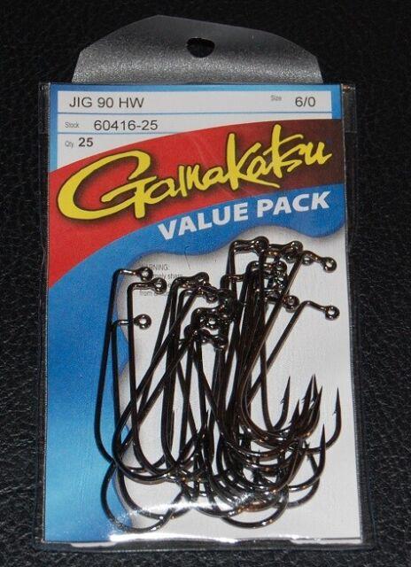 25 Pack Gamakatsu 60416-25 NS Black 90 Degree Heavy Wire Jig Hooks Size 6//0