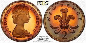 1981-GREAT-BRITAIN-2-PENCE-COIN-PCGS-PR68-FIRE-COLOR-TONED-GEM-TRUEVIEW