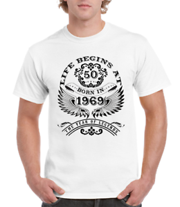 07d0d7c19 Life Begins At 50 Mens T-Shirt BORN In 1969 Year of Legends 50th ...