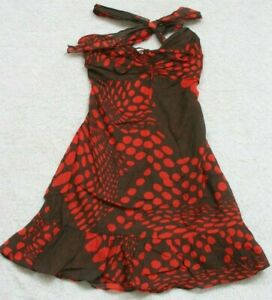 Brown-amp-Red-Dress-Small-Sleeveless-Polka-Dot-Cotton-Women-039-s-Woman-039-s-Unbranded